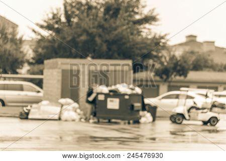 Vintage Blurred Worker Man Collecting Garbage