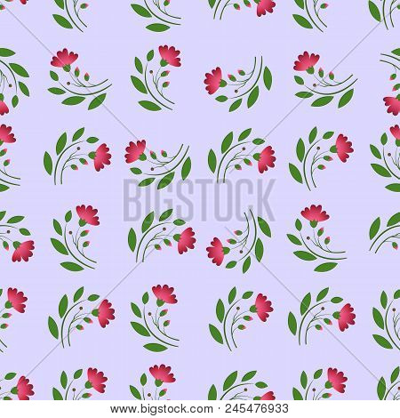 A Seamless Pattern Consisting Of Chaotically Arranged Elements In The Form Of A Green Twig With Leav