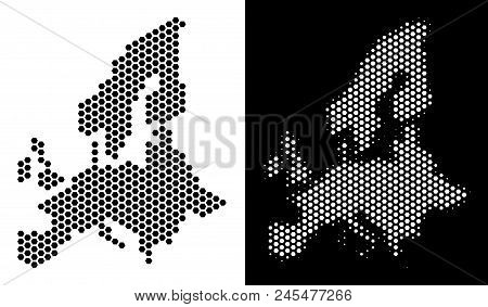 Hexagonal European Union Map. Vector Territorial Plan In Black And White Versions. Abstract European