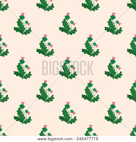 A Seamless Pattern Of Leaves Of Green Hues And Buds Of Bright, Rich Pink Color, On A Dull Pink Backg