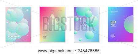 Cover Fluid Set With Round Shapes. Gradient Circles On Holographic Background. Modern Hipster Templa