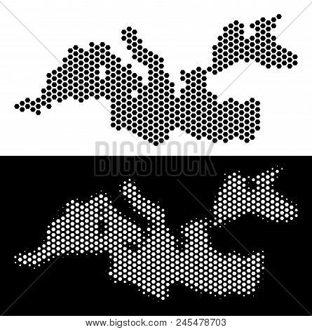Hex Tile Mediterranean Sea Map. Vector Territory Scheme In Black And White Variants. Abstract Medite