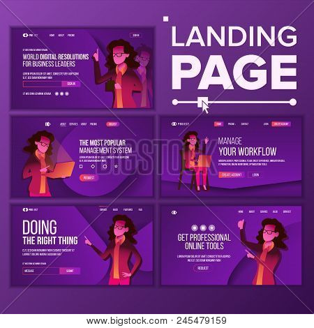 Landing Page Set Vector. Woman. Workflow Management. Business Coworking. Office Investment Webpage.