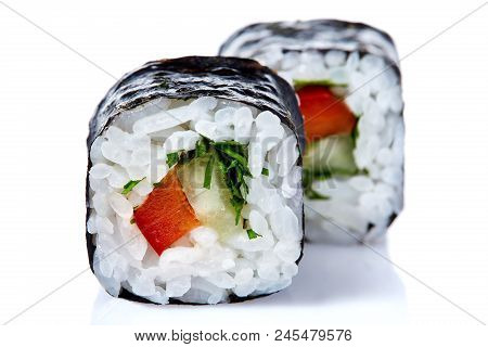 Traditional Fresh Japanese Sushi Rolls On A White Background, Close-up, Selective Focus. Sushi Food