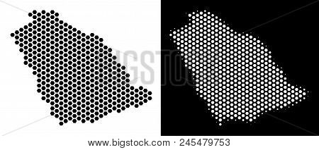 Honeycomb Saudi Arabia Map. Vector Territory Plan In Black And White Versions. Abstract Saudi Arabia