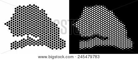 Hex Tile Senegal map. Vector territory scheme in black and white variants. Abstract Senegal map composition is made from hex-tile dots. poster
