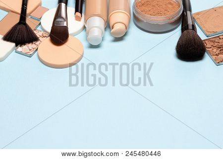 Make-up Background With Free Space For Text. Makeup Products For Creating Perfect Skin Tone: Conceal
