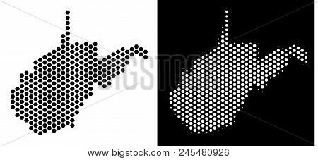 Hex Tile West Virginia State Map. Vector Territory Plan In Black And White Variants. Abstract West V