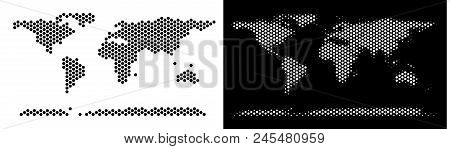 Honeycomb World Continent Map. Vector Geographic Scheme In Black And White Variants. Abstract World
