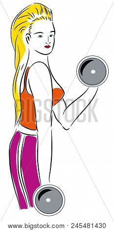 Blond Fitness Girl.  Fitness Girl With Dumbbells Isolated Background.