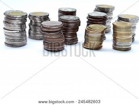 Coins Of Thailand With Investment And Saving For Financial Investment Concept.