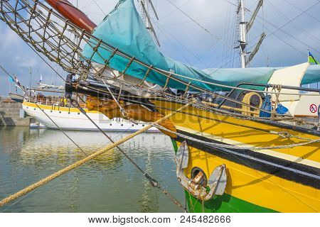Figurehead Of A Sailing Boat In A Port In Sunlight In Spring