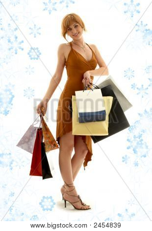 Shopping Redhead With Snowflakes