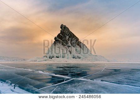 Rock On Freeze Lake With Sunrise Sky Background, Baikal Winter Season Natural Landscape Background