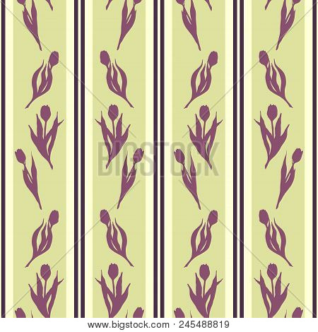 Tulip Spring Flower Silhouette Stripe Violet Yellow Green Seamless Pattern Texture Background Wallpa