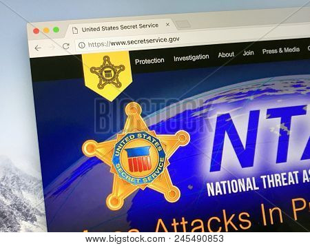 Amsterdam, Netherlands - June 14, 2018: Official American Government Law Enforcement Agency Website
