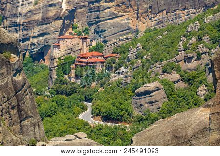 Mountain Scenery With Meteora Rocks And Monastery, Landscape Place Of Monasteries On The Rock.