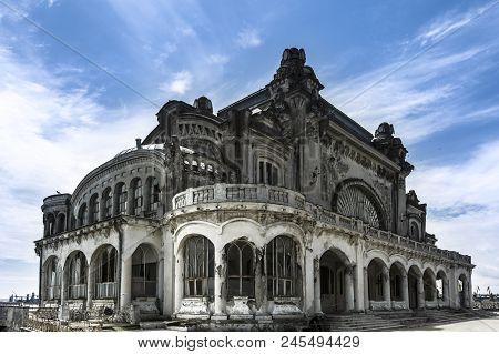 Constanta Abandoned Art Nouveau Casino On A Sunndy Day, Romania