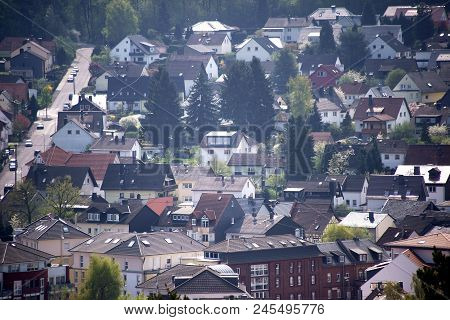 The Roofs Of Residential Buildings And Residential Complexes Of A City In The Valley.