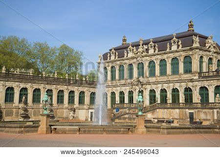 Dresden, Germany - April 29, 2018: Fountain In The Territory Of The Gallery Of Old Masters. Dresden