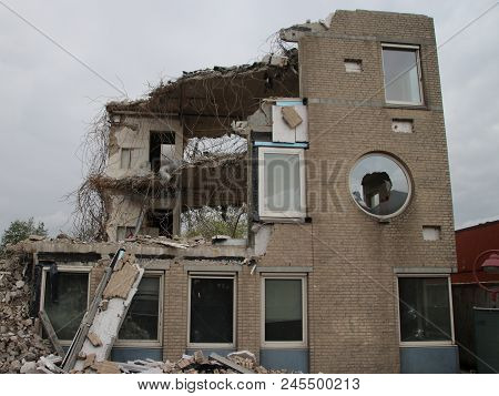 Demolition Of Old Office Of The Municipality Of Zuidplas In The Netherlands.
