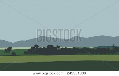 Farmland With Field, Meadow And Trees With Hills And Mountains In Background, Under Gray Sky - Vecto