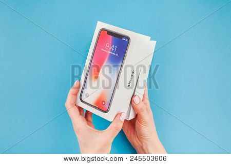 Woman Hands With The Box Of Apple Iphone X