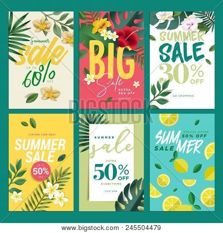 Eye Catching Summer Sale Mobile Banners, Ads And Posters Collection. Vector Illustrations Concept Fo