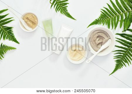 Natural Cosmetics Set With Various Kinds Of Cosmetic Clays Ready For Spa Treatment Decorated With Fe