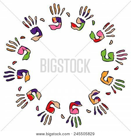 Set Of Multicolored Palm Prints. Colored Palms On The Holi Holiday.pattern From The Palms. Vector Il