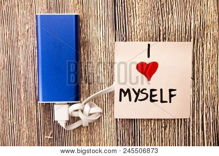 A Blue Energy Storage Device And Statement About Himself I Love Myself Is Present On Woody Object.th