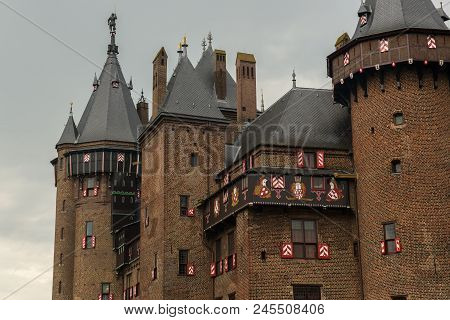 Exterior Of Parts Of De Haar Castle With Towers And Windows In Neo Gothic Style As Designed By Archi