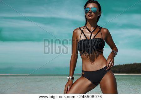 Beautiful Bohemian Styled Woman, Tanned Girl At The Beach, Sexual Black Bikini, Wet Hair, Holiday Ti