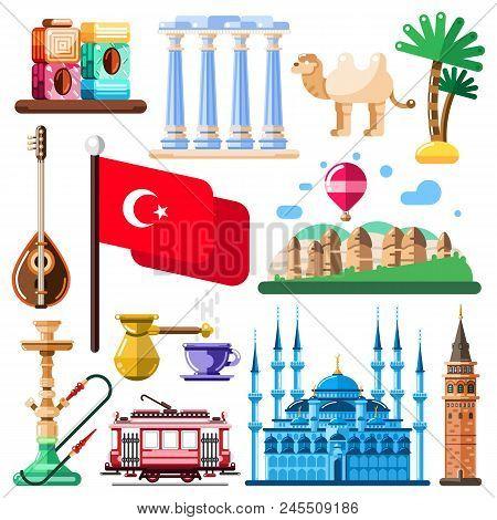 Travel To Turkey Vector Icons And Design Elements. Turkish National Symbols And Landmarks Flat Illus