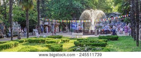 SOCHI, RUSSIA - JUNE 2, 2018: Fountain in the Riviera Park.