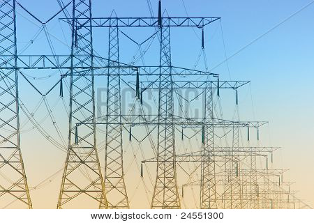 Electricity Pylons Standing In A Row