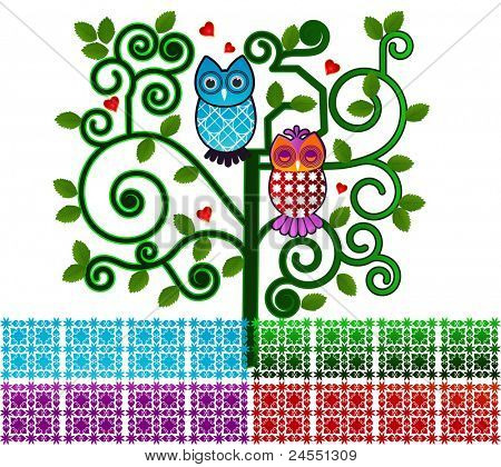 Sweet owls in a funky tree poster