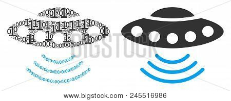 Alien Invasion Composition Icon Of Binary Digits In Various Sizes. Vector Digit Symbols Are Composed