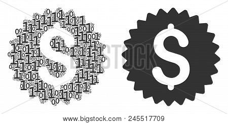 Bank Seal Collage Icon Of Binary Digits In Different Sizes. Vector Digital Symbols Are Scattered Int