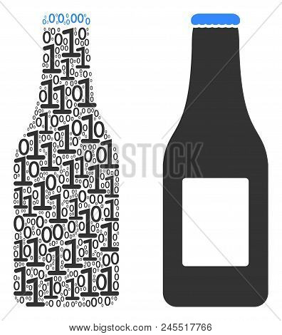 Beer Bottle Composition Icon Of One And Zero Digits In Different Sizes. Vector Digital Symbols Are A