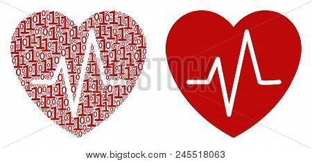 Cardiology Composition Icon Of Binary Digits In Randomized Sizes. Vector Digits Are Formed Into Card