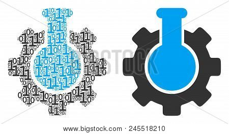 Chemical Industry Composition Icon Of Zero And Null Digits In Different Sizes. Vector Digital Symbol