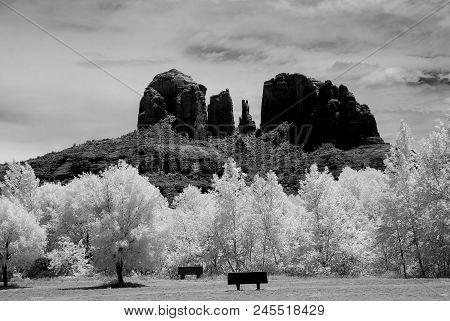 Infrared Black And White Cathedral Rock Sedona Arizona