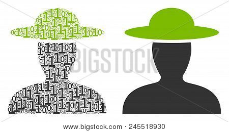 Farmer Person Collage Icon Of Zero And One Symbols In Random Sizes. Vector Digits Are United Into Fa