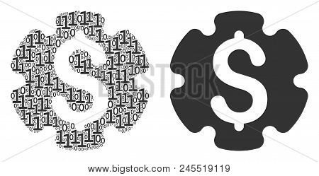 Financial Settings Gear Mosaic Icon Of Binary Digits In Random Sizes. Vector Digital Symbols Are Uni
