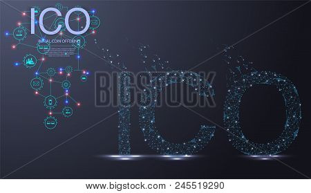 Ico Initial Coin Offering Futuristic Hud Background With World Map And Blockchain Peer To Peer Netwo