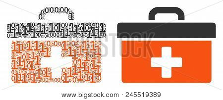 First Aid Toolbox Mosaic Icon Of Binary Digits In Variable Sizes. Vector Digital Symbols Are Arrange
