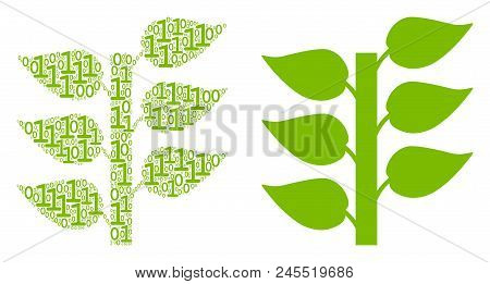 Flora Plant Composition Icon Of One And Zero Digits In Different Sizes. Vector Digit Symbols Are Arr