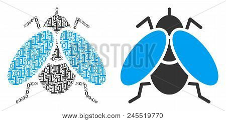 Fly Insect Composition Icon Of Zero And One Symbols In Various Sizes. Vector Digits Are Combined Int