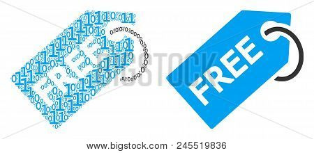 Free Tag Composition Icon Of Zero And One Symbols In Different Sizes. Vector Digit Symbols Are Scatt